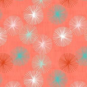 Small Dandelions M+M Confetti Coral by Friztin