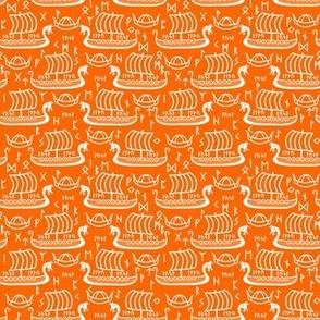 longboats and runes orange and white