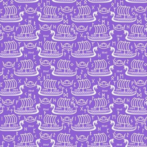 longboats and runes purple and white