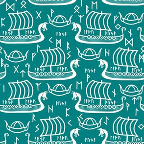 longboats and runes teal and white