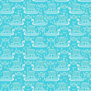 longboats and runes light blue and white