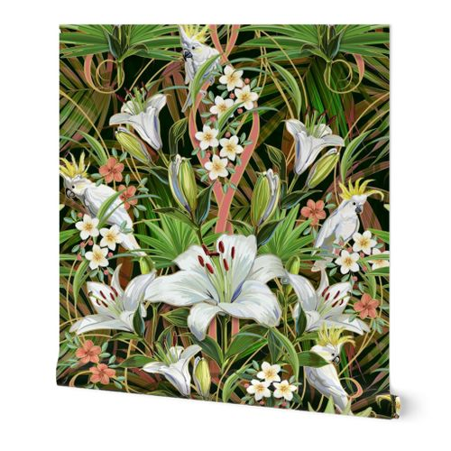 Tropical Lilies & Cockatoos Wallpaper | Mixed Palms