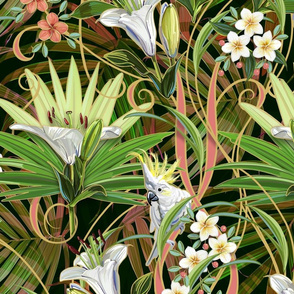 Tropical Lilies & Cockatoos Wallpaper | Mixed Palms