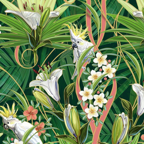 Tropical Art Nouveau Lilies&Cockatoos | Green Palms