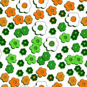 Daisy Groove - green, orange and white