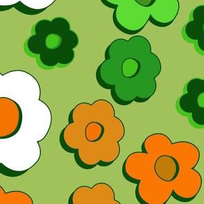 Daisy groove - orange on green