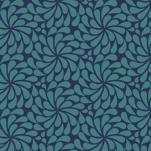 In a Spin - mini, teal on navy