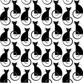 cats - luni cat black and white - geometric cats