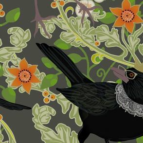 Ruth Bader GinsBIRD LARGE floral gray