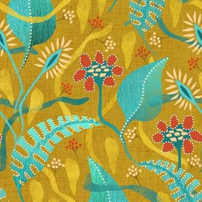 surrealist flowers on gold - small