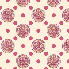Doodle Dots Cream and Pink