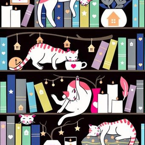 Library cats - winter colours