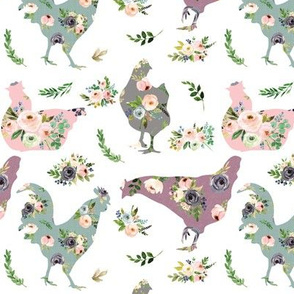 chickens, country floral cuties - 3 inch