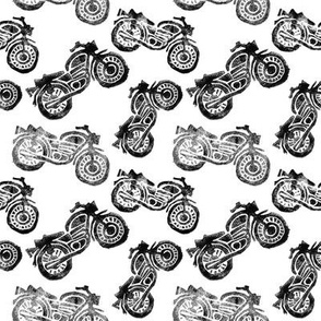 Motorcycles Linocut