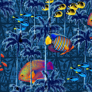 Tropical Underwater Garden Surrealistic Illustration