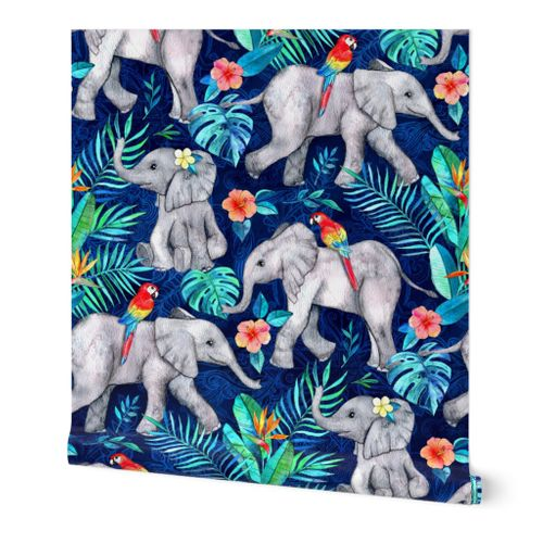 Elephants and Parrots in Indigo Blue