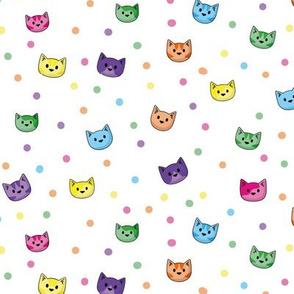 Cat Heads Rainbow Dots White
