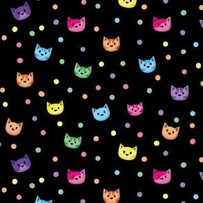 Cat Heads Rainbow Black