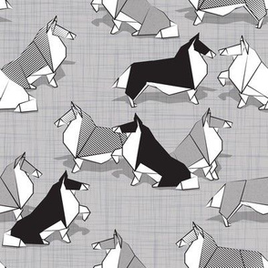 Small scale // Origami Collie friends // grey linen texture background black white and grey paper dogs