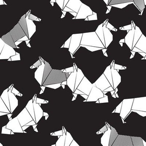 Small scale // Origami Collie friends // black background black and white paper dogs