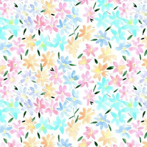 Tender meadow - small scale -  watercolor pastel florals - painted soft wildflowers for home decor bedding nursery - flower pattern p322