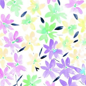 Tender meadow - watercolor pastel florals - painted soft wildflowers for home decor bedding nursery - flower pattern