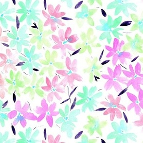 Tender meadow - watercolor pastel florals - painted soft wildflowers for home decor bedding nursery - flower pattern p322