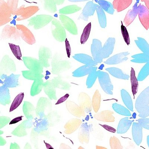 Tender meadow - watercolor pastel florals - painted soft wildflowers for home decor bedding nursery - flower pattern 322