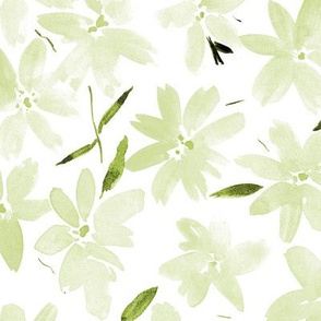Tender khaki meadow - watercolor pastel florals - painted soft wildflowers for home decor bedding nursery - flower pattern