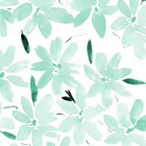 Mint Tender meadow - watercolor pastel florals - painted soft wildflowers for home decor bedding nursery - flower pattern 322