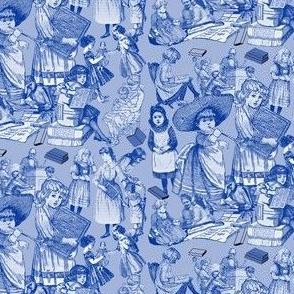 Victorian Books Blue Toile Fabric Design