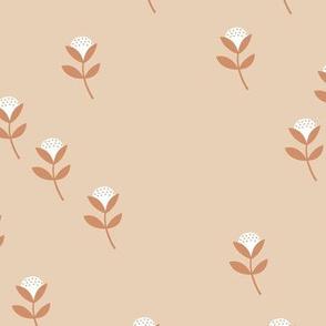 Sweet cotton flowers botanical floral fall print boho soft beige rust orange