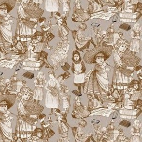 Victorian Books Toile Brown Fabric Design