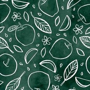 Watercolor Line Art Apples - Green
