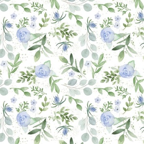 Watercolor Greenery with Blue Flowers