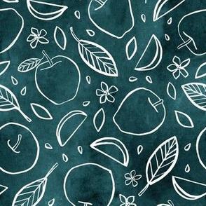 Watercolor Line Art Apples - Blue