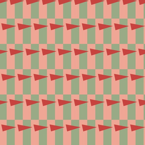 arrows on checked background (pink and sage)