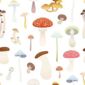 Dreamy Mushrooms Pattern in White, Medium Scale
