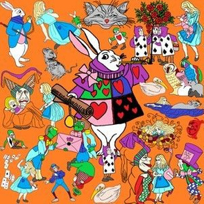 Alice's Adventures In Wonderland Design Custom Fabric
