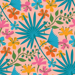 Living Collections Bright Tropical Floral - LARGE SCALE - UnBlink Studio by Jackie Tahara