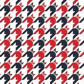 Cat Face Houndstooth in Red, White and Blue Paducaru