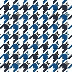 Cat Face Houndstooth in Blue, Dark Navy and White Paducaru