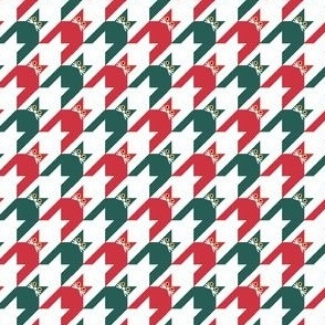 Cat Face Houndstooth in Red, Green and White Paducaru