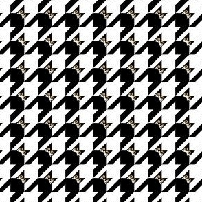Cat Face Houndstooth in Black and White Paducaru