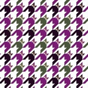 Cat Face Houndstooth iin Purple, Green Black and White Paducaru