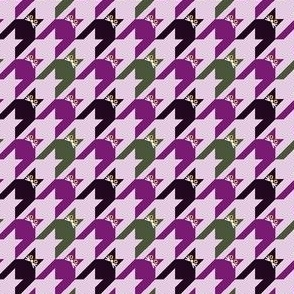 Cat Face Houndstooth in Pink, Purple Green and  Black Paducaru