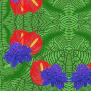 Lg Red, Purple Tropical Flowers by DulciArt,LLC