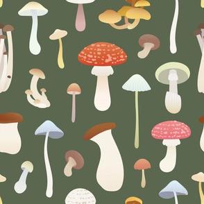 Dreamy Mushrooms Pattern in Olive, Medium Scale