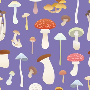 Dreamy Mushrooms Pattern in Purple, Medium Scale