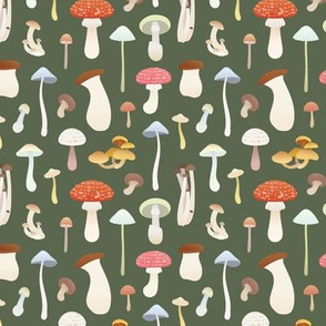 Dreamy Mushrooms Pattern in Dark Green, Small Scale